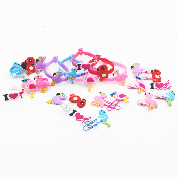6sets top quality PVC soft silicone fashion jewelry sets anime cartoon flamingo bracelets rings hairpins bookmark kids gift