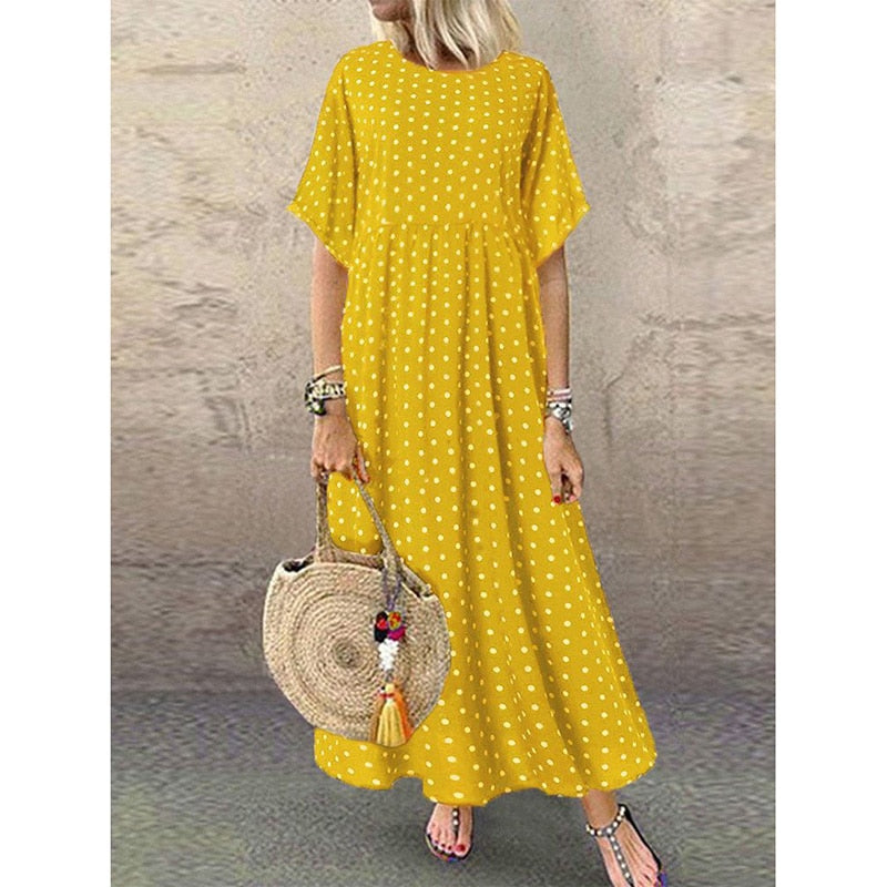 Summer Dress 2020 Polka Dot Boho Long Dress Beach Loose Short Sleeve Bohemian Maxi Dress Woman O Neck Sundress New Plus Size 5XL