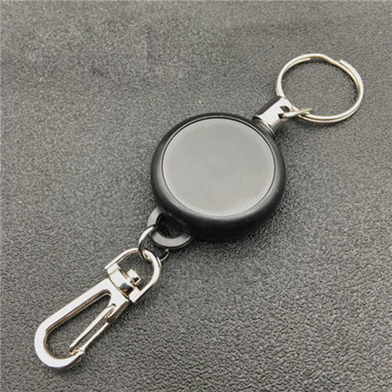 Black Keychain 60cm Length Badge Reel Retractable ID Lanyard Name Tag Card Badge Holder Reels Recoil Belt Key Ring Chain Clips