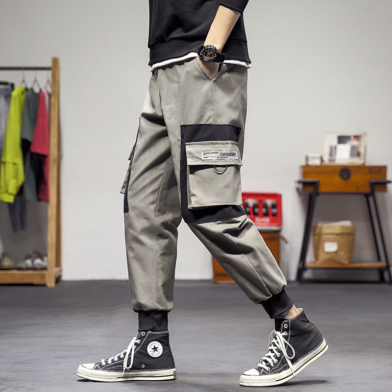 SportsX Men Hip-hop Relaxed-Fit Beam Foot Multi-Pocket Cozy Casual Pants