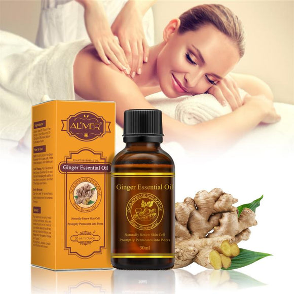 30ml Pure Plant Essential Oil Ginger Oil Body Massage Thermal Body Ginger Essential Oil Anti-aging Lymphatic DetoxificationTSLM1