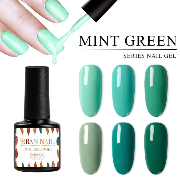 RBAN NAIL 7ML Gel Nail Polish Mint Green Color Series UV Gel Varnish Semi Permanent Soak off UV Gel lacquer For Nails Art