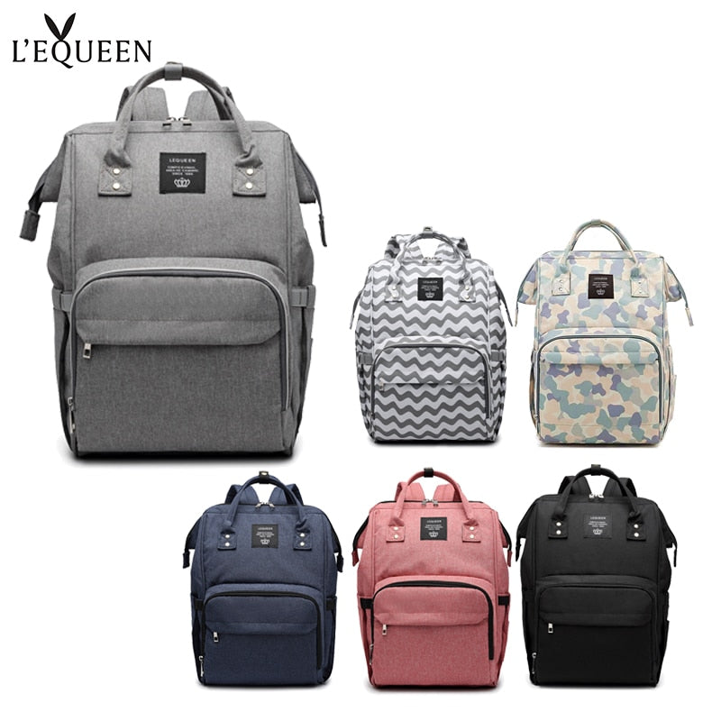 LEQUEEN Fashion Baby Diaper Bags Large Capacity Nappy Bag Waterproof Mummy Bag Maternity Travel Backpack Nursing Handbag for Mom