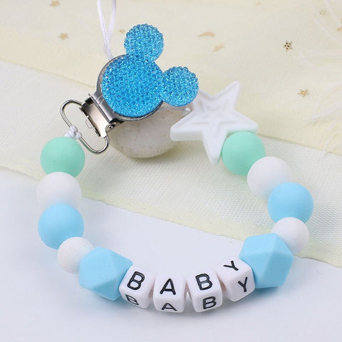 Personalised Blue Mickey Mouse Dummy Clip Buy 2 Get 1 Free with Car or Plane