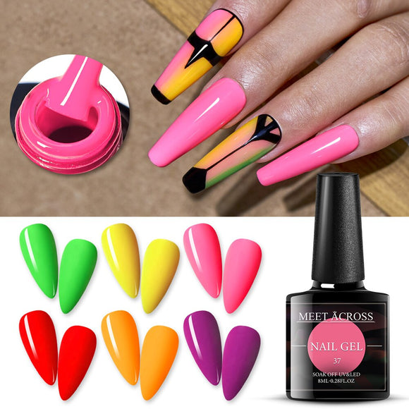 Fluorescent Neon Color Bright Gel Nail Polish Summer Series Soak Off UV LED Nail Beauty Gel Varnish Nail Art Matte Top Coat
