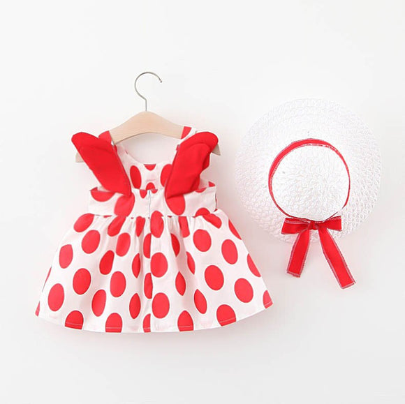 Summer Dress Lovely Strawberry Sleeveless Bowknot Infant Baby Dresses Girl Casual Toddler Kids Suspender Princess Dress With Hat