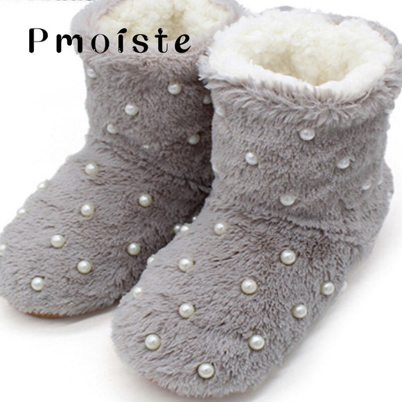 Slippers women home Winter Plush Warm House Slippers Indoor Bedroom Pearl Slides Fluffy slippers Plus Size Soft Floor shoes