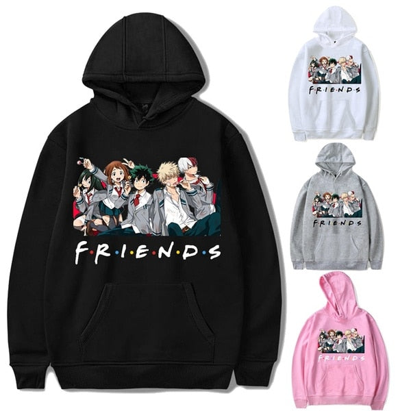 Oversized Hoodie Sweatshirt Women Men My Hero Academia Friends Polerone Bluza Damska Korean Clothes Streetwear Sweatshirt Tops