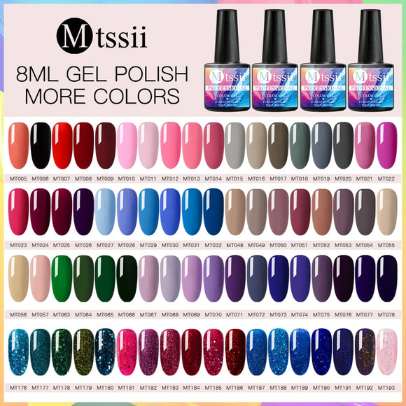 Mtssii 8ml Soak Off UV Nail Gel Polish Long Lasting Pure Color Semi Permanent Led Nail Gel Varnish Manicure Lacquer Tools