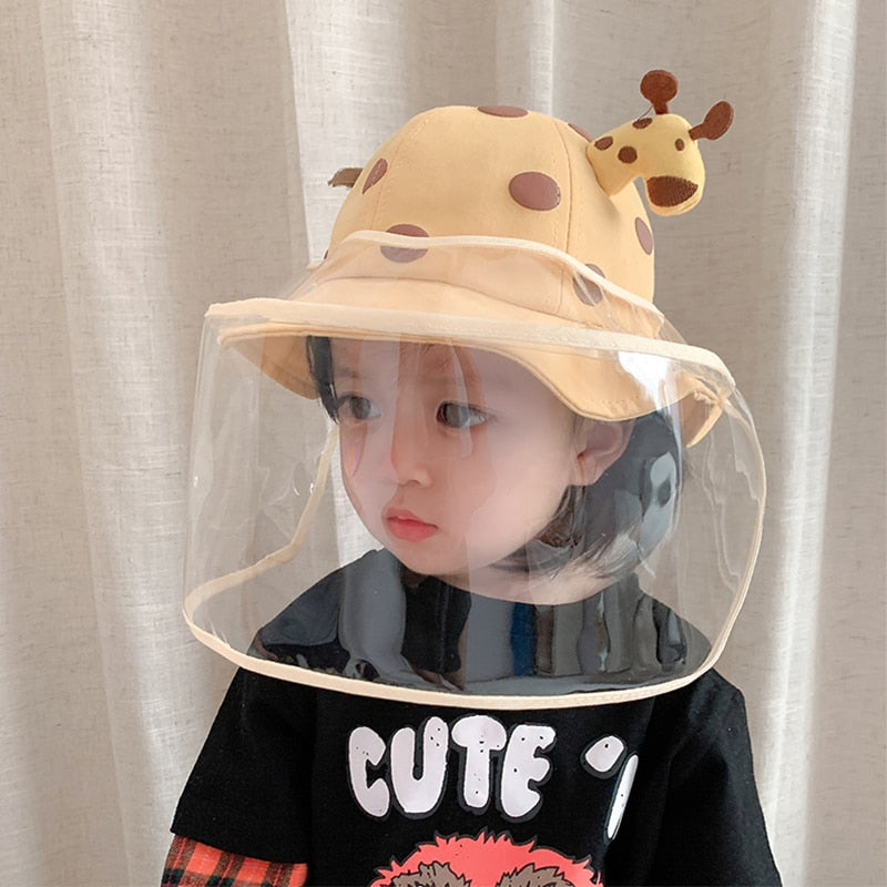 Anti Droplets Baby Hat Summer With Face Shield Mask Anti-virus Children Bucket Hat Kids Boys Girls Cartoon Sunhat Cute Baby Hats