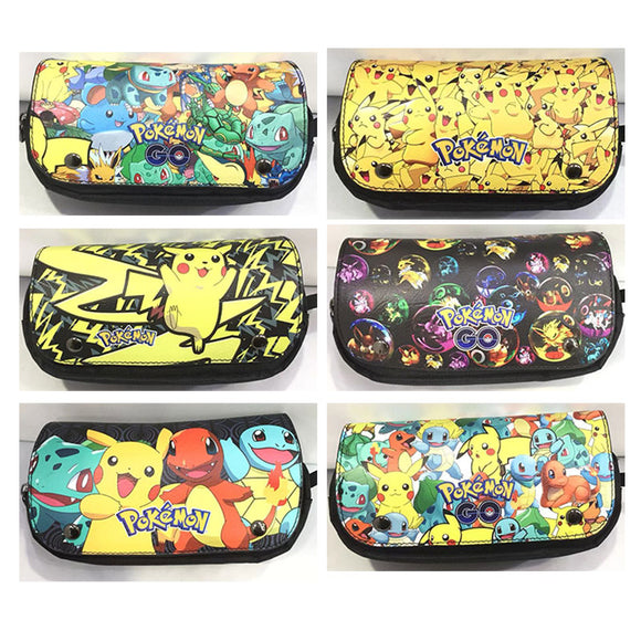 Kawaii Cartoon Pokemon Pencil Bag Pikachu Print Leather Canvas Stationery Organizer Pen Purse for Student Boy Girl Cosmetic Bags