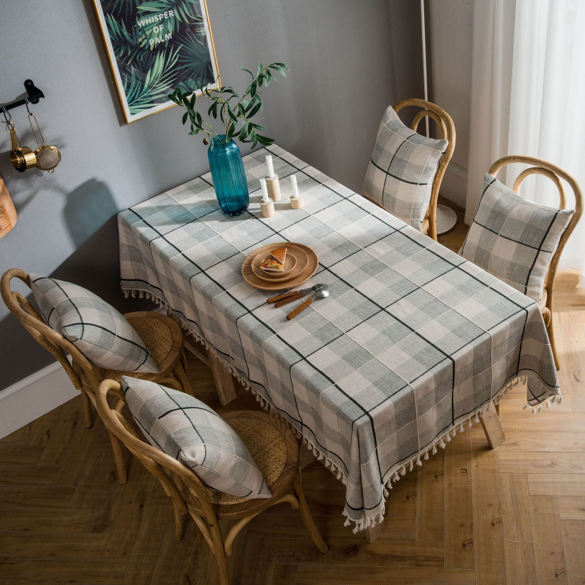 Gray Plaid Embroidered Fringe Tablecloth Cotton and Linen Kitchen Table Desk Coffee Table Cloths Rectangular Dining Table Cloth
