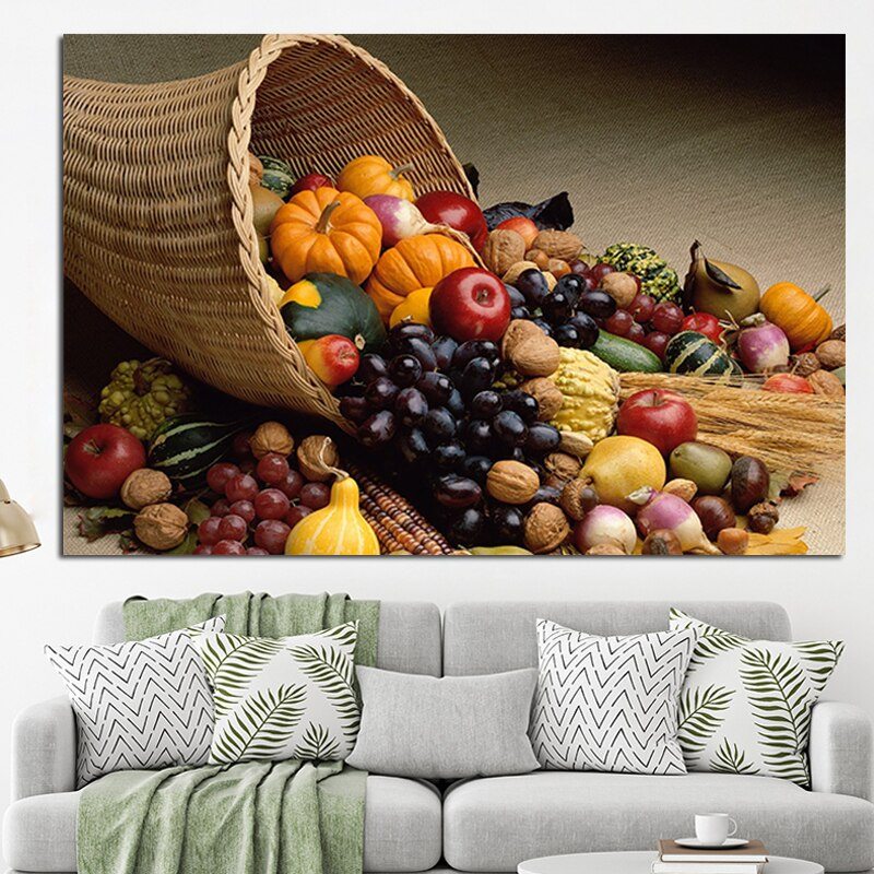 OUCAG Basketful Fruits And Vegatables Kitchen Canvas Painting Contemporary Unframed Posters Wall Art Picture Decor Dining Room