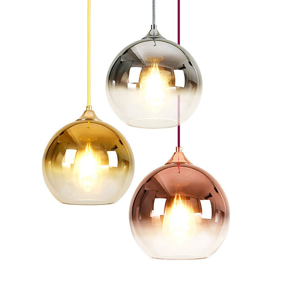 Modern glass pendant lights 20 25 30cm Gradient color plating shade suspendues Luminaire dining room kitchen loft hanging lamp