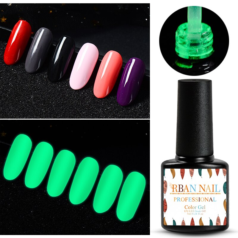 RBAN NAIL 7ml Luminous No Wipe Top Coat Gel Polish Long-lasting Soak Off Nail Art Gel Varnish Shine In The Night Manicure Tools