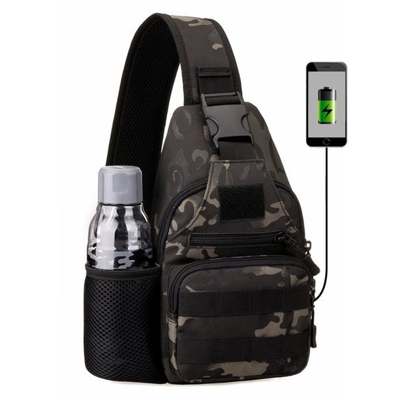 IKSNAIL USB Chest Bag Single Shoulder Camping Backpack Military Tactical Sports Bags Outdoor Hiking Army Mochlia Molle Camo Sack