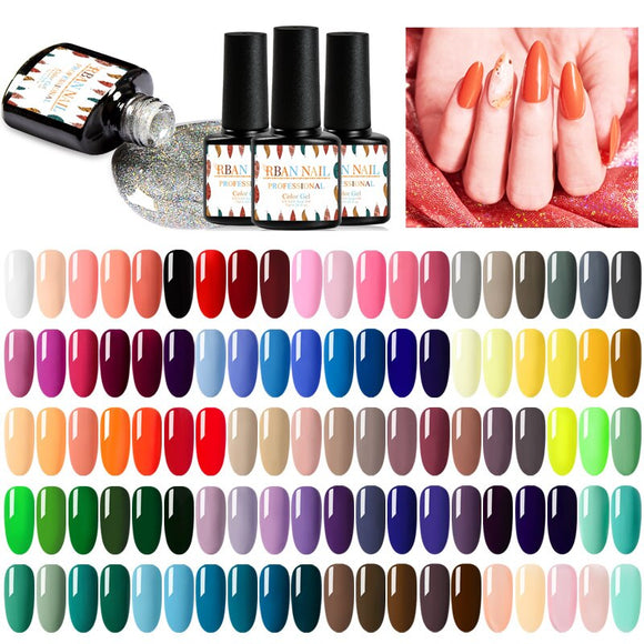 RBAN NAIL 7ML Pure Semi-Permanent UV Gel Nail Polish Sock Off Varnish Lacquer Hybrid Long Lasting UV Gel Nail Polish Manicure