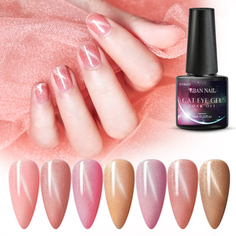 RBAN NAIL 6ML Nude Rose Pink Cat Eye Gel Nail Polish UV Led Nail Gel Sock Off Long Lasting Semi-permanent Gel Nail Lacquer