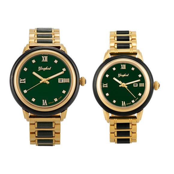 New Brand jade Couple Watch Women Clock Business Men Watch retro luxury Creative hot Fashion high quality Trend Male Wristwatch
