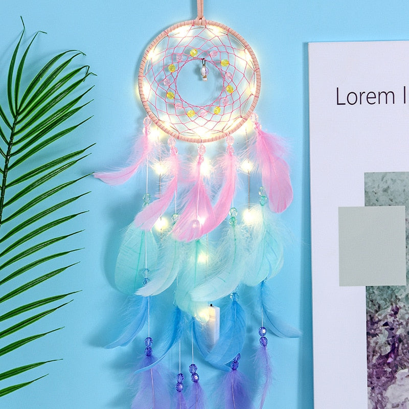 Feather Stone Hollow Braided Hanging Decoration Dream Catcher OK