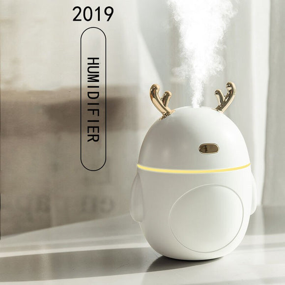 320ml Portable Deer Air Humidifier Aroma Essential Oil Diffuser Ultrasonic Mist LED NightLight Humidifier Fogger Christmas Gift