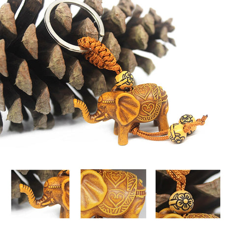 Lucky Elephant Carving Wooden Pendant Keychain Key Ring Chain Decoration Gift SP