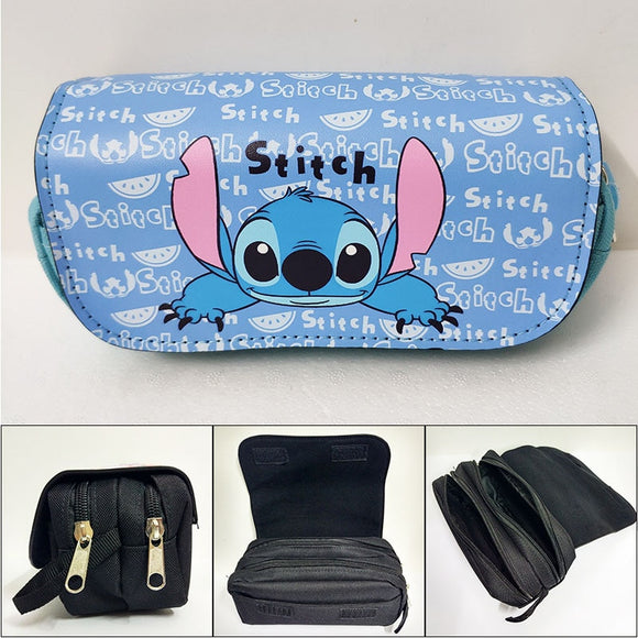 Cute Cartoon Lilo Stitch Pencil Bags for Kids Children Stationery Leather Purse Big Capacity Girls Lady Women Cosmetic Cases Bag