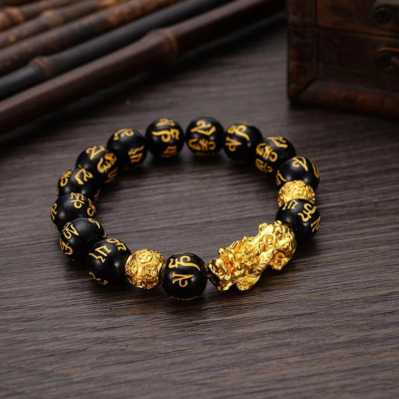 6 Words Chinese Lucky Enegry God Beast Pixiu Bracelet Jewelry Gift Gold Color Brave Troops Stone Beads Bangles Bracelet