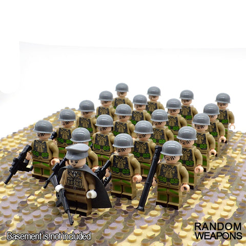21Pcs//Set WW2 Military Soldiers US Britain Italy Japan Army Building Block Toy