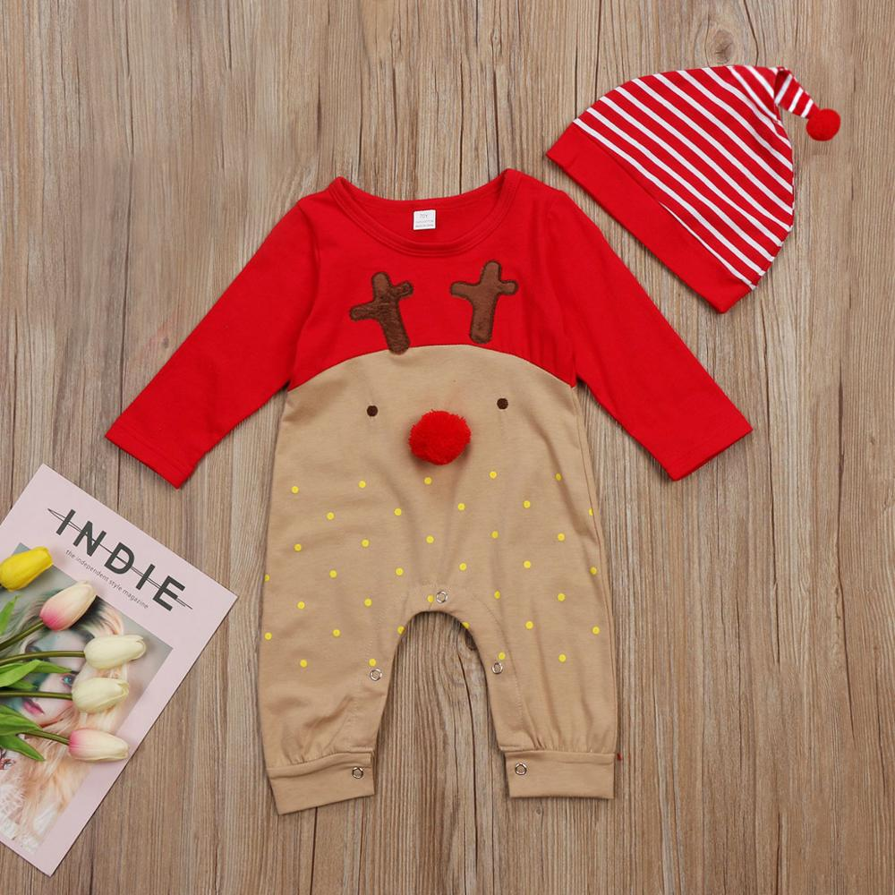 2Pcs Newborn Infant Baby Boys Girl Christmas Xmas Clothes Romper Hat Outfit Costume Toddler Cartoon Kids Clothes Sets