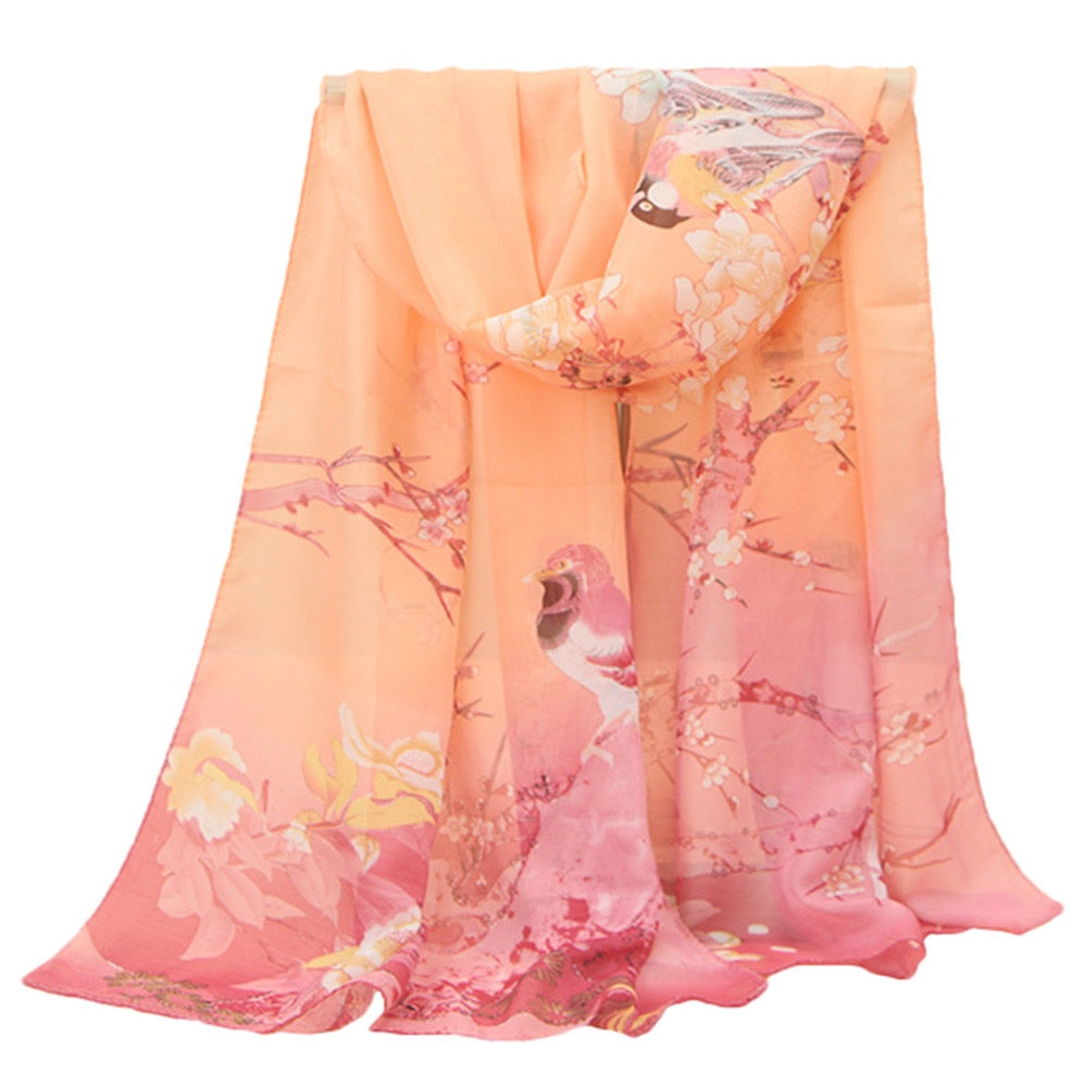 Woman Scarves For The Neck Printed Chiffon Beach Towel Scarf Printing Long Soft Wrap Scarf Ladies Shawl #YL5