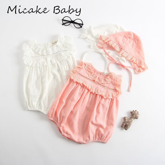 Summer Sleeveless Baby Girls Lace Rompers Baby Crawling Jumpsuit Suit with Hat Cute Newborn Baby Girl Clothes Jumpsuits for baby