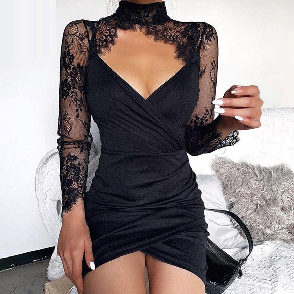 Sexy Black Lace Embroidery Seethrough Dress Hollow out Bodycon Party Woman Dresses Elegant Tassel Button Summer Dresses Vestido