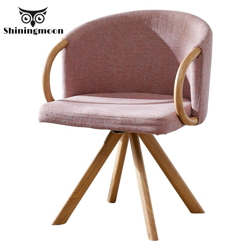 Modern Fashion Minimalist Dining Room Chairs Creative Wood Dining Chair Pink Comfortable Sofa Bedroom Living Room Chair