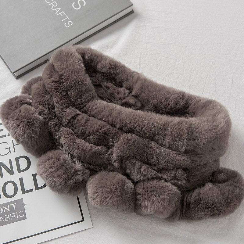 2020 Fashion Women's Winter Genuine Real Rex Rabbit Fur Loop Infinity Scarf Ring Scarves Cowl Scarf Wraps Mufflers Snood Stole