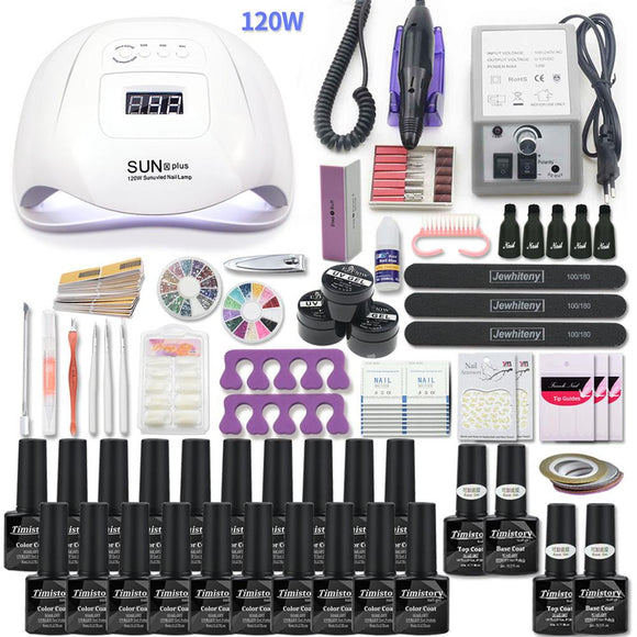 Manicure Set Acrylic Nail Kit With 120/54W Nail Lamp Choose Gel Nail Polish Nail Art Set  Manicure Machine All For Manicure