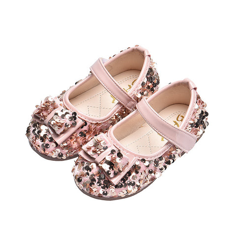 Winter Outdoor,Newborn Baby Cute Girls Bowknot Bling Single First Walkers Soft Sole Shoes,