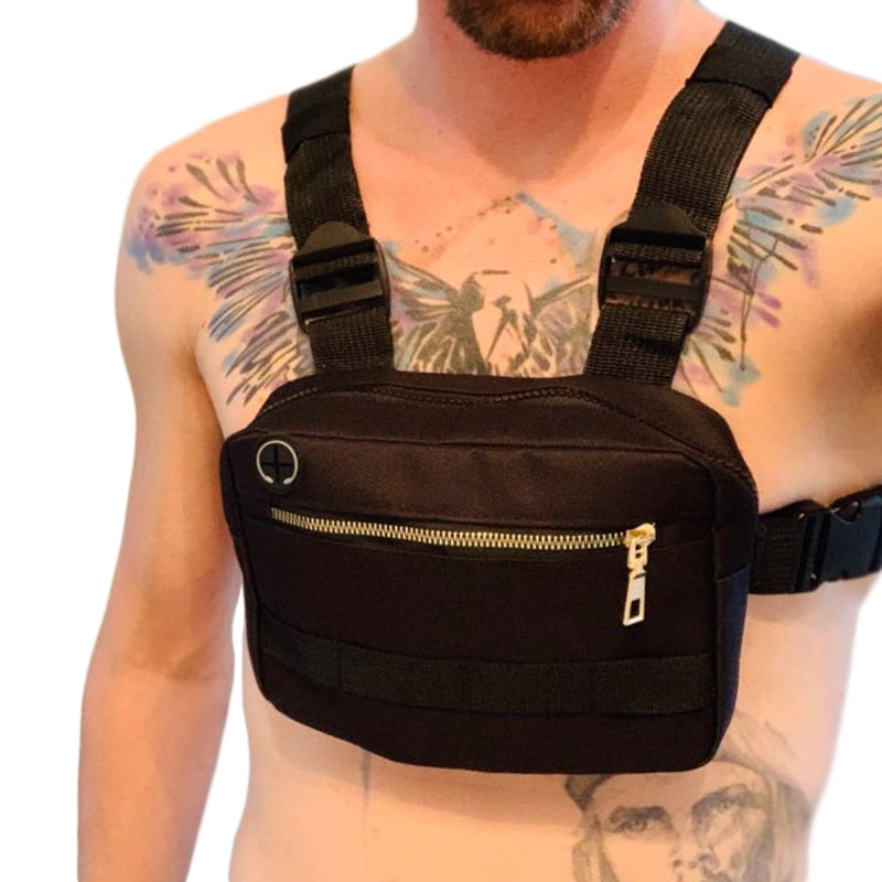 Adjustable Oxford Tactical Chest Rig Hip Hop Streetwear Waist Packs Black Men Chest Bag Functional Shoulder Bag Kanye West G108
