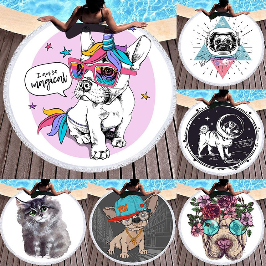 Bulldog Round Multicolor Beach Towels Summer Dog Cat Thick Bath Shower Towel 150cm Circle Beach Swim Yoga Mat Cover Up Serviette