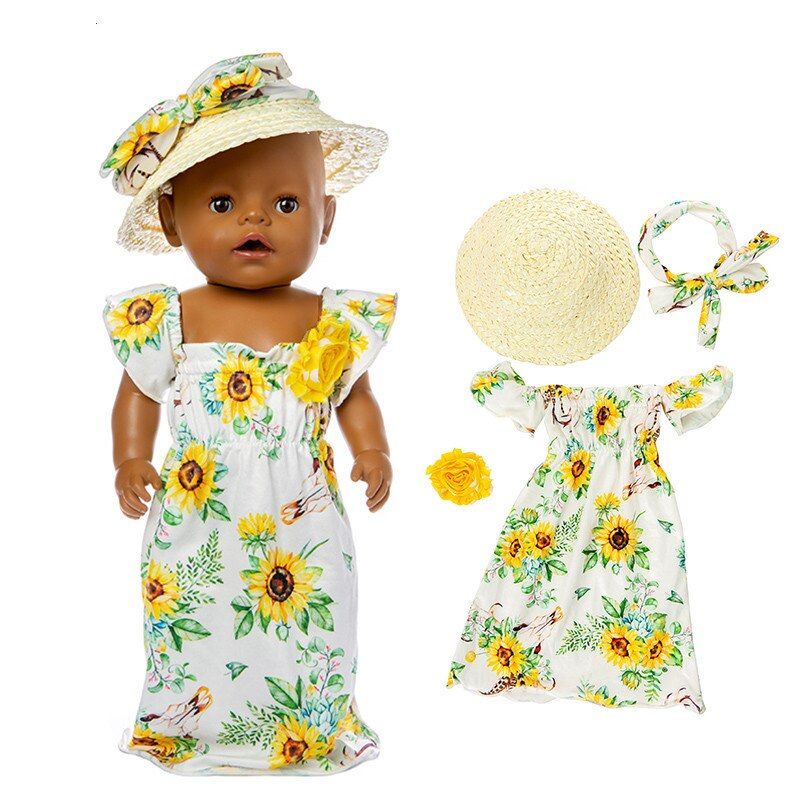 Born New Baby Fit 18 inch 40cm-43cm Doll Clothes Accessories Sun flower Rose Skull Elk Straw Hat Suit For Baby Birthday Gift