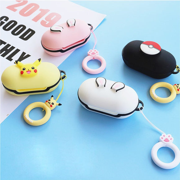Cute Silicon Cover for Samsung Galaxy Buds 2019 Case Charging Sleeve Bluetooth Earphone Skin Wireless Headphone with Finger Ring