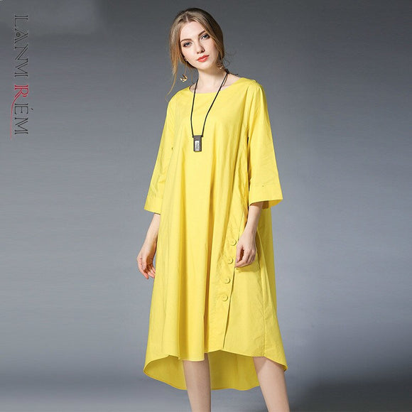 LANMREM can ship women's large size dresses 2020 spring summer new Loose half Sleeve comfortable cottom Dress Woman YH816