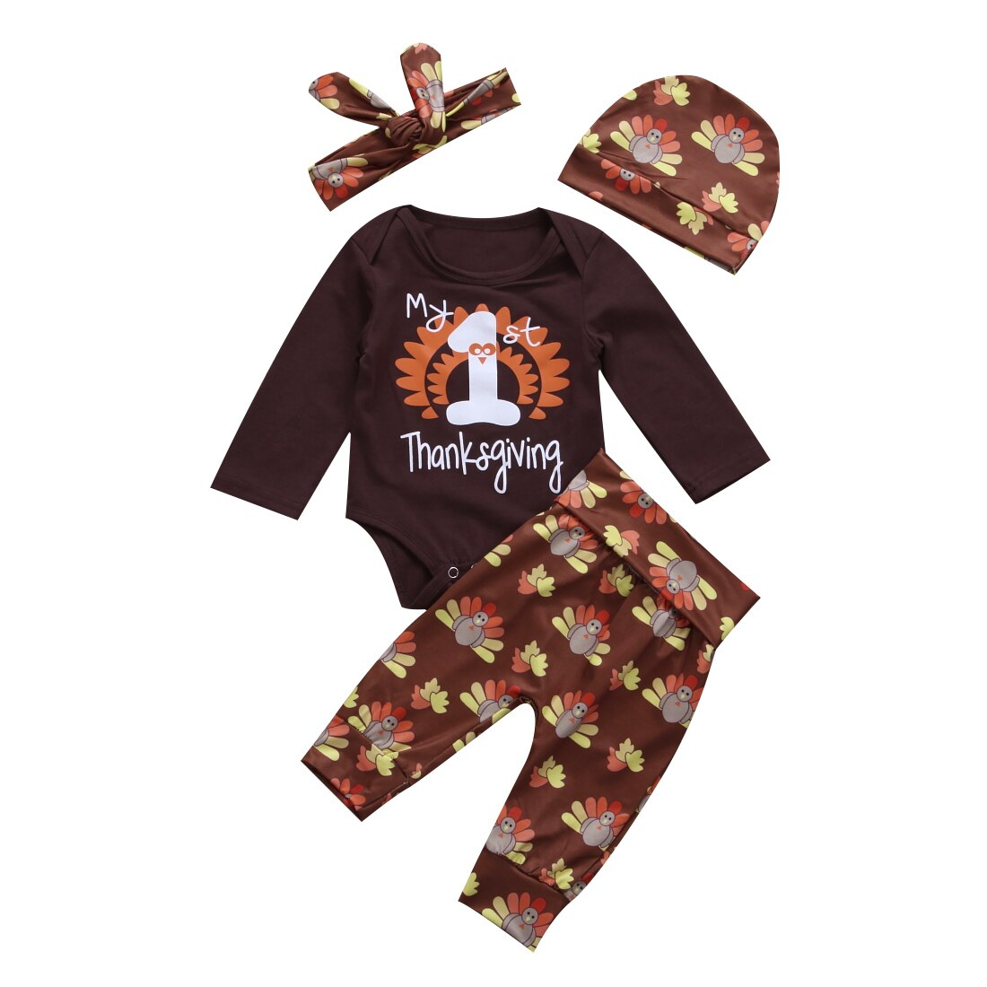 4Pcs Infant Baby Boy Girl Thanksgiving Outfit Set Long Sleeve Bodysuit Pants with Hat and Headband