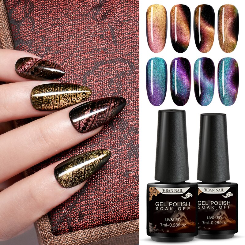 RBAN NAIL 5D Cat Eyes Chameleon Magentic UV Nail Gel Polish Led Gel Nail Varnish Need Magnet Stick Semi Permanent Nail Art Tips