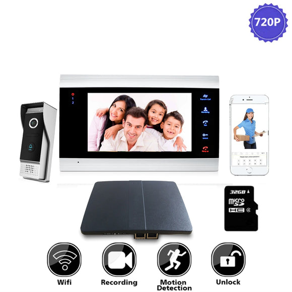 7 inch WiFi IP Video Door Phone  Intercom Home Access Control System Android IOS App Remote Unlock with Wifi Box
