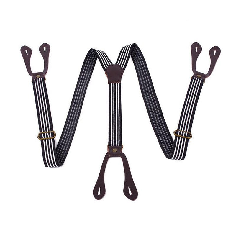 Hot Male Suspenders Y-Back Stripes Braces Button Stretchy Belt Trouser Accessory