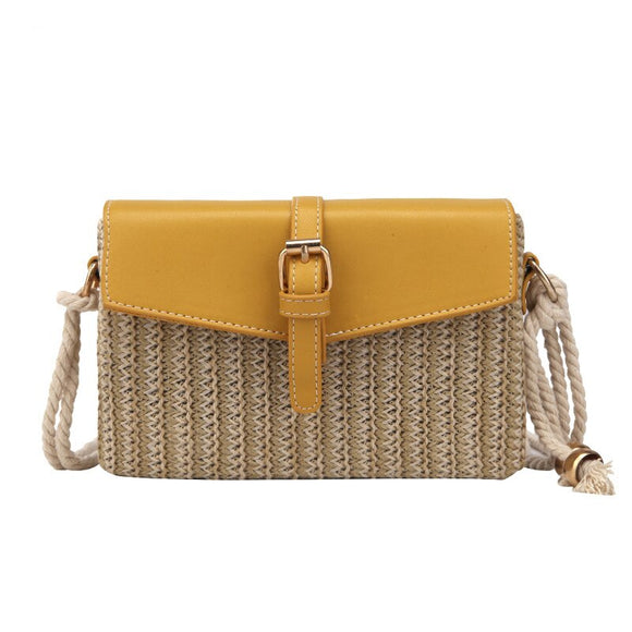 Small bag female 2020 summer Korean version of the wild beach straw messenger bag chain woven small square bag Yellow Beach bag