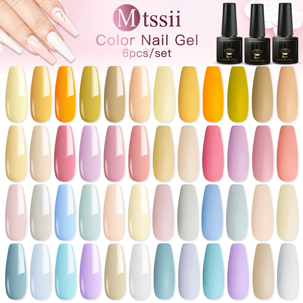 Nail Gel Polish Set Kits Nail Art Tips Design Manicure Soak Off UV Nails Gel Green Yellow Nude Color Gel Nail Polishes Lacquer