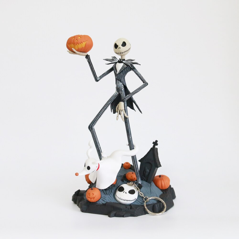 Hot Sale Original Nightmare Before Christmas Jack Skellington Zero Tim Burton Movie Animation Figure Model Toys + Key Ring