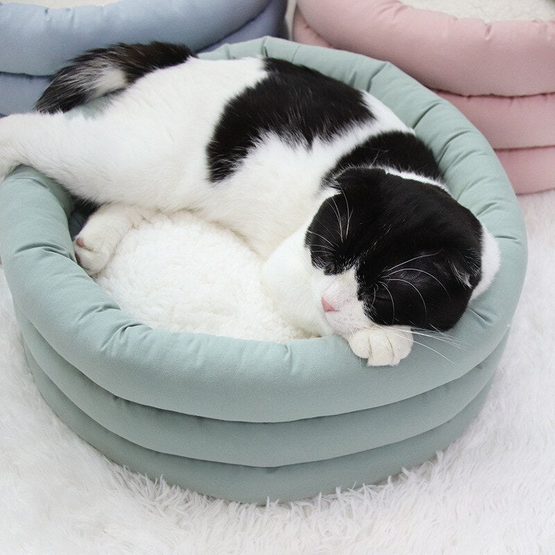 Round Shape Dog Cat Bed Cat Sleeping House Winter Warm Soft Pet House Cat Nest With Detachable Cushion Mat for Cat Non-Slip Beds